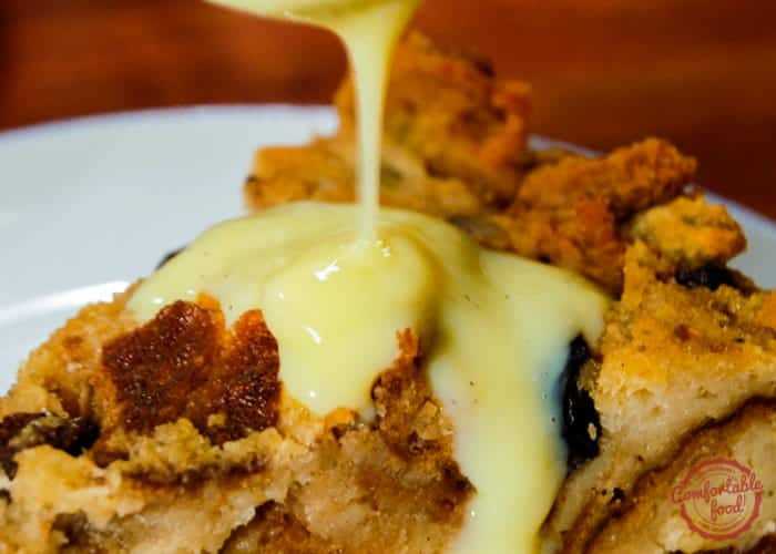 A recipe for traditional bread pudding with creme anglaise.