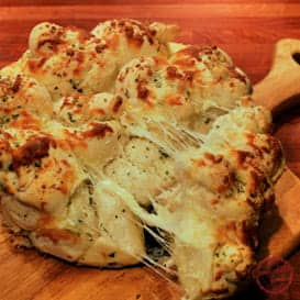 Cheesy, garlicky pull apart bread recipe.