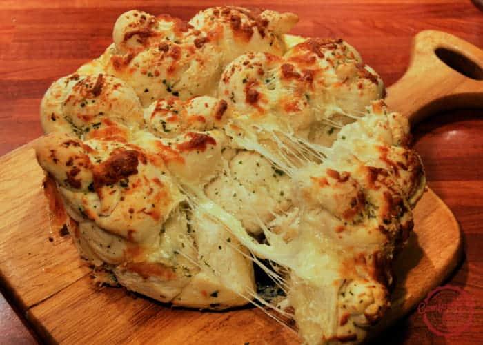 Cheesy, garlicky pull apart bread recipe.