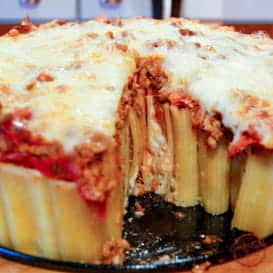 Cheese Stuffed Rigatoni Pasta Bake