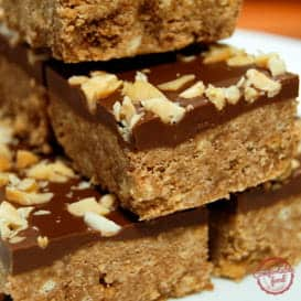 A recipe for crispy, no bake peanut butter bars.