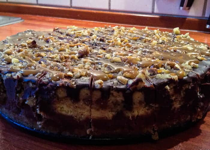 A Layered Turtle Cheesecake Recipe from Comfortable Food.