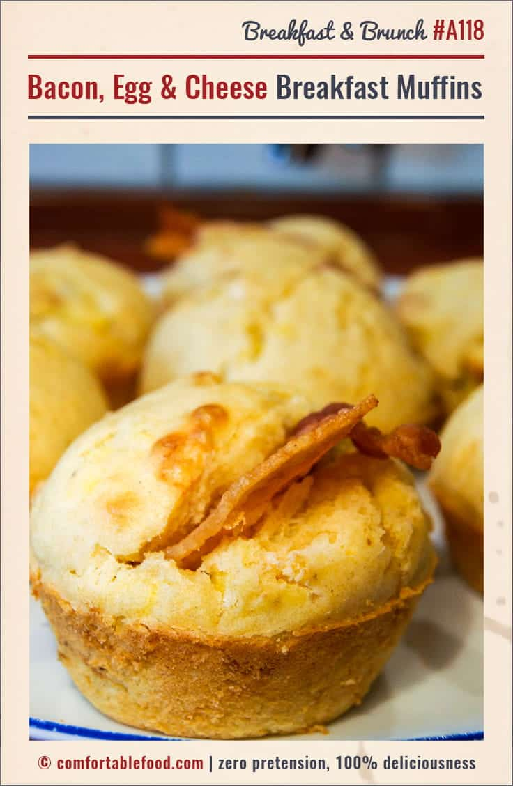 Savory breakfast muffins, with bacon, egg and cheese.