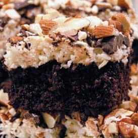 A recipe for perfectly delicious Almond Joy Brownies.