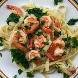 Lemon Garlic Shrimp and Spinach Pasta & Video