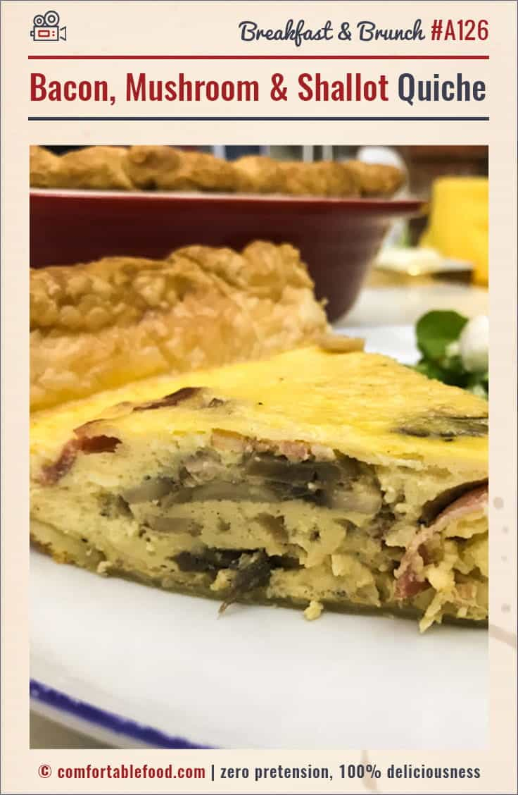 An easy quiche recipe with bacon, shallots and mushrooms.