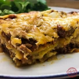 An Enchilada Casserole Recipe with Beef from Comfortable Food.