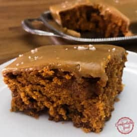 A recipe for tomato soup cake with caramel icing.