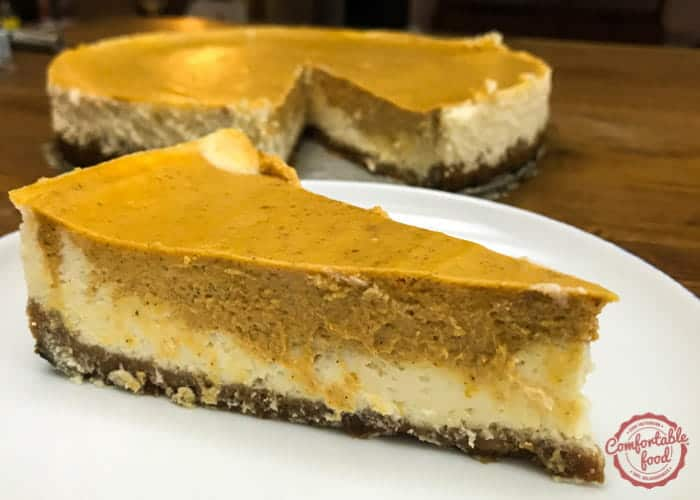 Layered pumpkin cheesecake recipe.