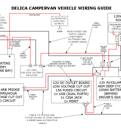 our delica campervan s 12v electrical setup comfortably lost dual battery system wiring diagram schematic shows the mercedes [ 1122 x 793 Pixel ]