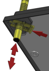 Push on the yellow bracket and move the head of the yellow leg from underneath the heating plate through the hole.