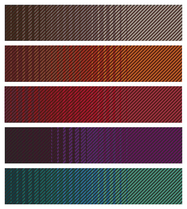 Selected ombre color palettes.
