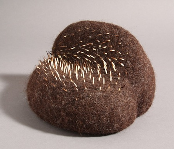 "Stephanie Metz ""Amorphozoa #9"" Felted wool, porcupine quills 6.5"" x 7"" x 6.5"" 2009"