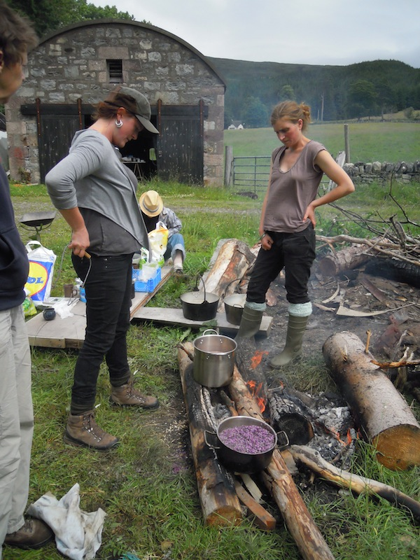 Our workshop hostesses tending the open fire which we used to heat our dye baths.