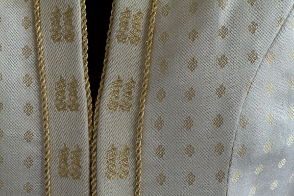 """Wedding Coat"" silk, wool, and gold thread 2010."