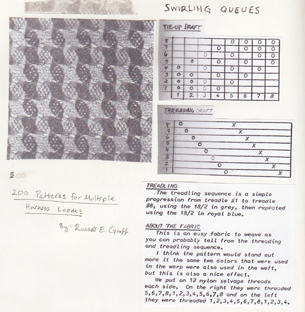 Photocopied pieces of the weaving draft by Groff.