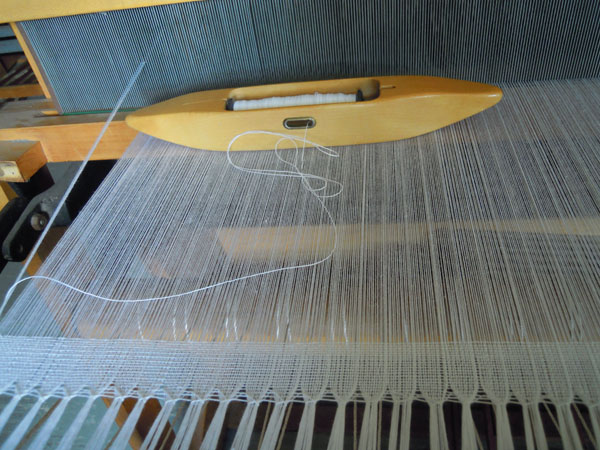 An couple inches woven so that I could calculate how much weft I needed to weave this project.