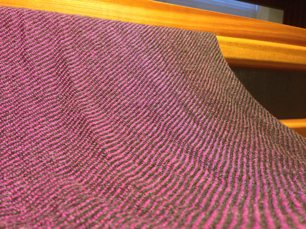 A view of my finished fabric. Still needs to be pressed, but has a beautiful transition from fuchsia to a deep berry.