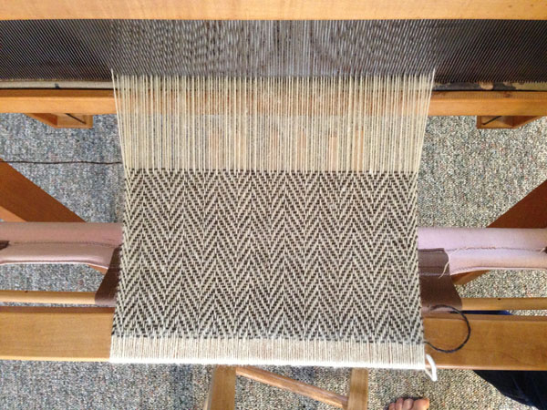Sample of the herringbone weave set at 18 ends per inch on my small loom.