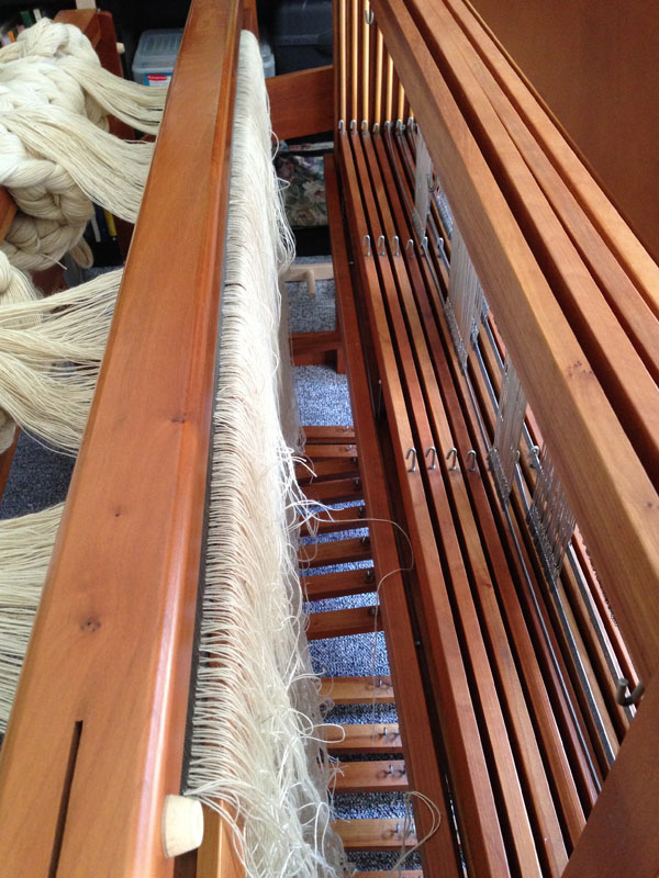 The warp, threaded through the ENTIRE width of my reed.