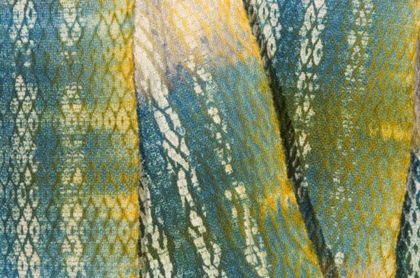 Detail shot of a woven shibori work.