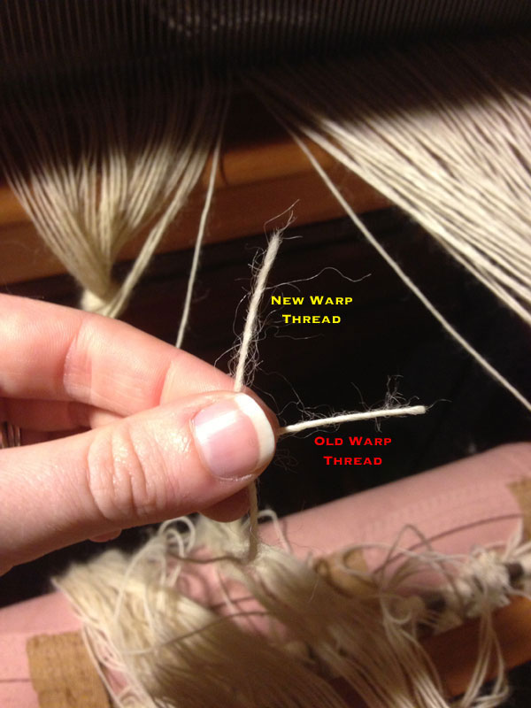 The new warp thread is placed vertically behind the old warp thread creating a perpendicular intersection.