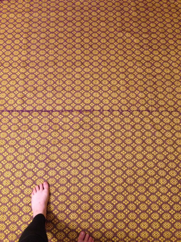 Laying the panels out on the floor to start tacking them together. Makes me wish I could make a tile for my bathroom in this pattern.