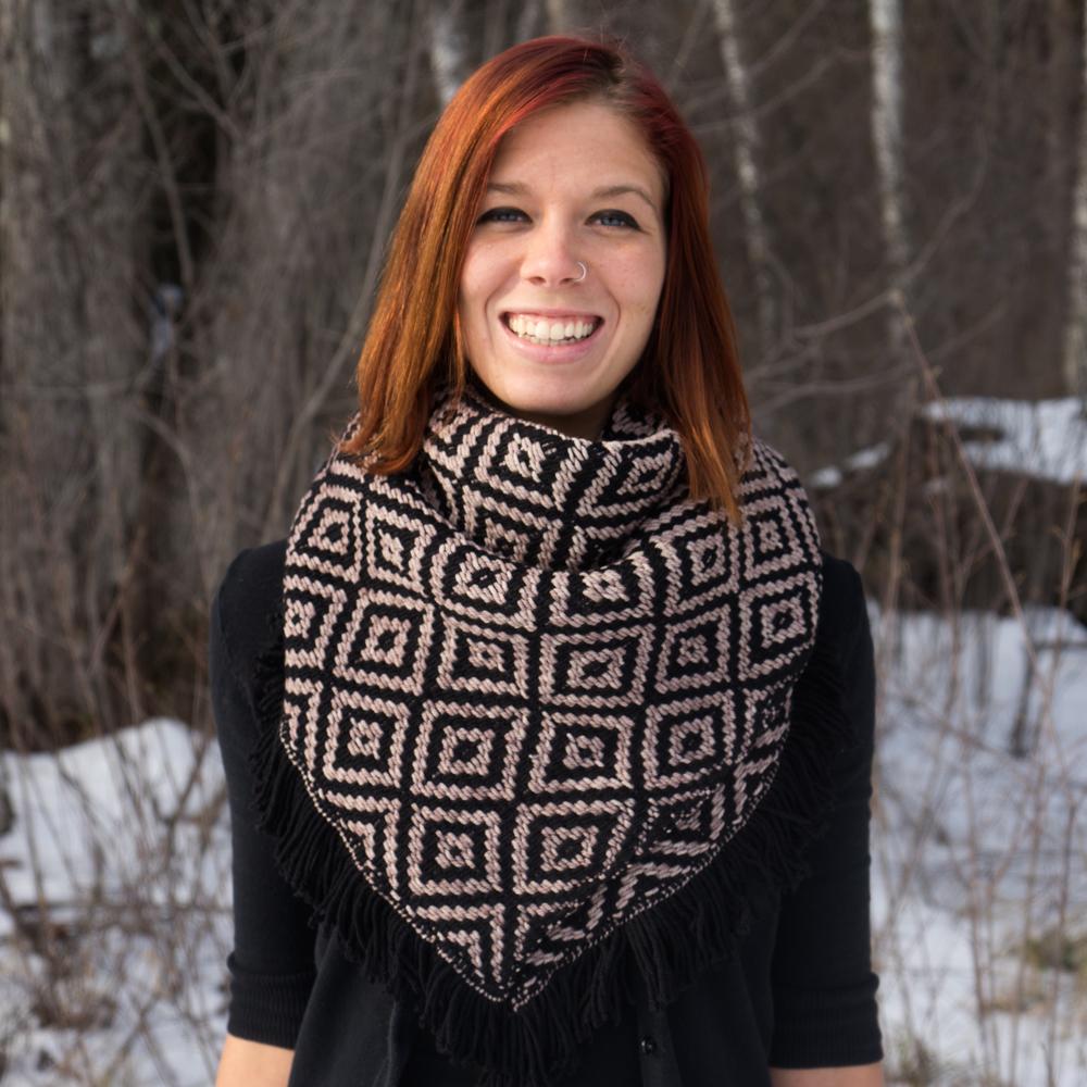 Liz Modeling Black/Sand Bank Heavy Winter Kerchief