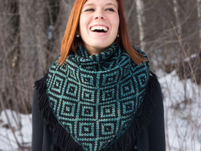 Liz Modeling Black/Aguas Heavy Winter Kerchief