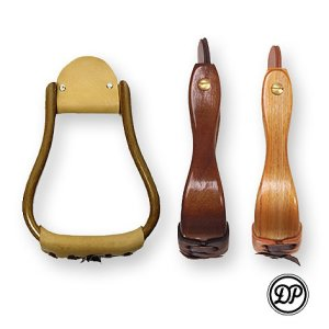 "Wooden Western Stirrups ""Visalia"" with leather step Image"