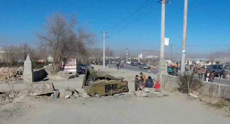 Afghan burnt out car
