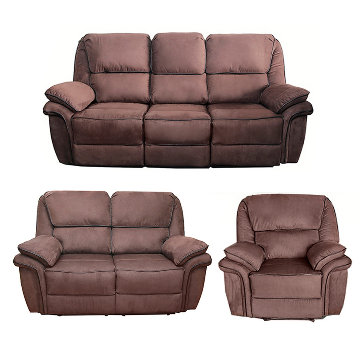 Brown Recliner Sofa Set 3 2 1 Preston Reclining Couches On Sale Comfort Line Ireland