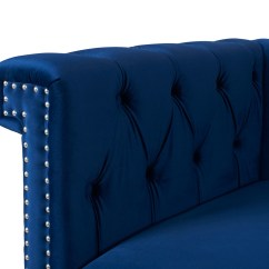 Navy Leather Chesterfield Sofa Set Below 30000 Fabric Wooden  Blue