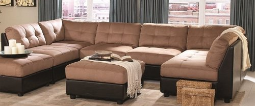Suede U-shaped sofa