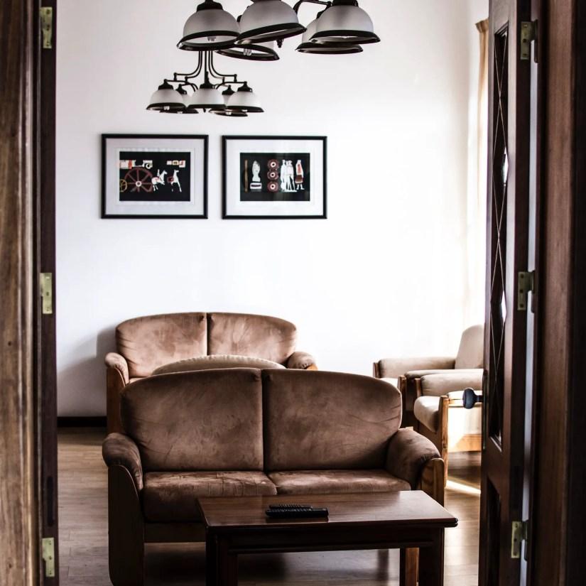 brown sofa and coffee table