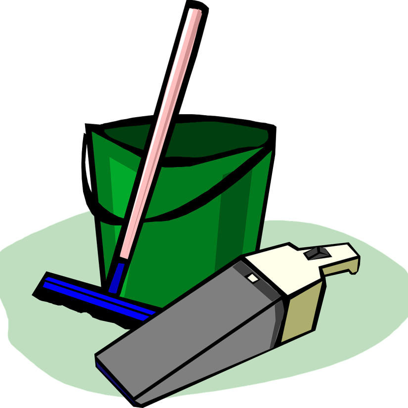 vacuum cleaner, broom and bucket drawing