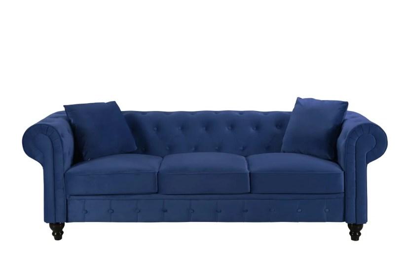 Royal Victorian-Style Velvet Chesterfield Sofa Blue