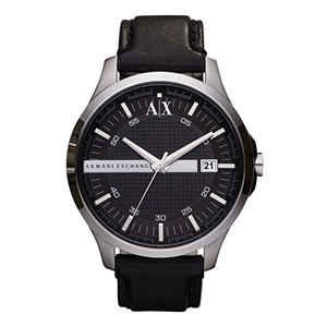 3-Armani Exchange Leather Strap Watch, 46mm
