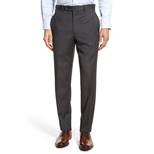 3-Torino Flat Front Solid Wool Trousers by J.B. Britches