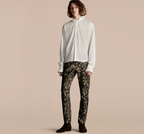Tudor Burberry Ruff Collar Cotton Voile Tunic Shirt