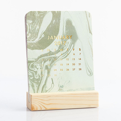 2017 Paper Source Marbled Easel Box Desk Calendar