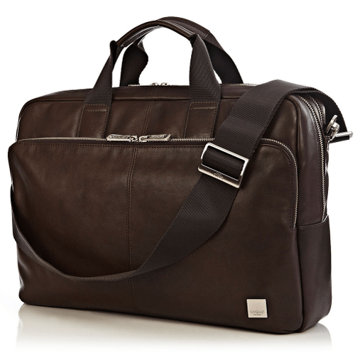 Travel Essentials for Men : Amesbury-Double Leather Zip Briefcase 15