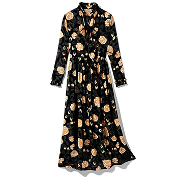 GANNI Black Floral Dress