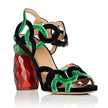 DRIES VAN NOTEN Sculpted-Heel Velvet Sandals