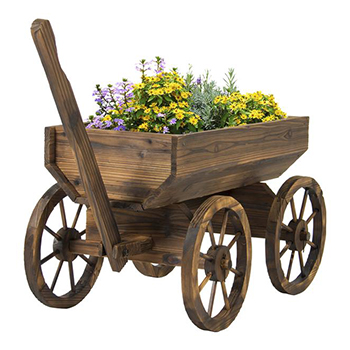 Wagon Flowers Planter by Best Choice Products with white background
