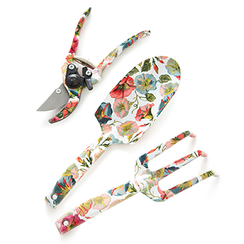 Morning Glory Gardening Tool Set Mackenzie Childs with white background