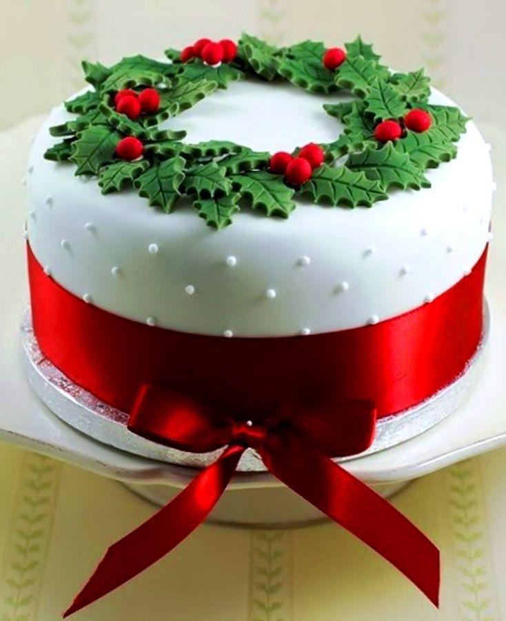 Fondant Christmas Cake Ideas Christmas Cake White Swiss Dot Fondant Holly Red Satin Ribbon - 2016 Christmas Ideas