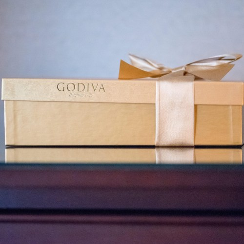 Godiva chocolates in a gold box