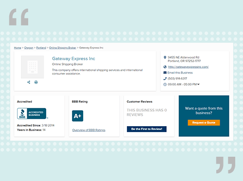 comGateway's Profile on the Better Business Bureau website