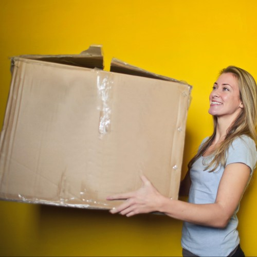 Woman carrying package box